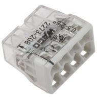 Kép illusztráció: Wago 2273-208 univerzális vezetékösszekötő; tömör vezetékeknek; max. 2,5 mm2; 8 vezetékhez; áttetsző készülékház; világosszürke fedél