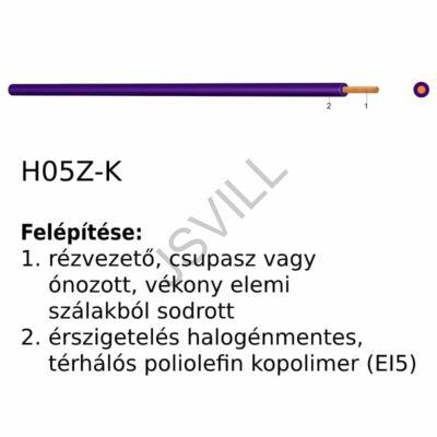 Kép illusztráció: H05Z-K 1x1 300/500 V fehér Halogénmentes vezeték