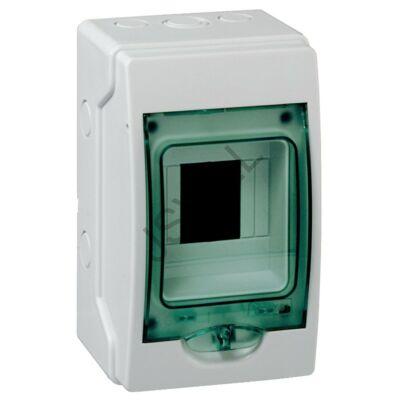 Kép illusztráció: Schneider 13441 KAEDRA Mini elosztó, átlátszó ajtó, falon kívüli, 1x4 modul, szürke vízálló lakáselosztó PE+N IP65